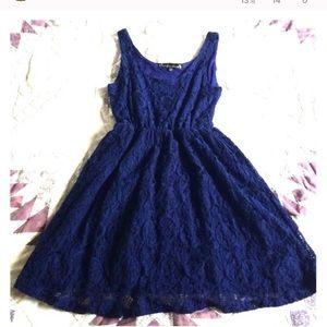 Blue lace skater dress